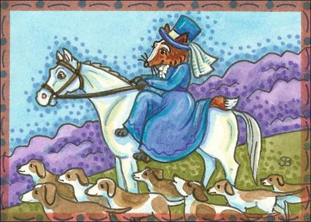 Une partie de chasse élégante en compagnie de dame ------- qui monte son cheval --------.