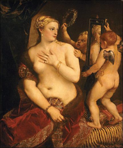 Complétez le trou du titre de ce tableau de Titien :  ... miroir  !
