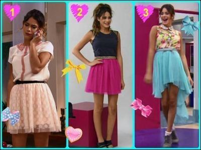 Regarde bien la photo et dis-moi quelle tenue Violetta déteste : la 1, la 2 ou la 3 ?