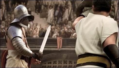 """On va voir combien de temps, montre en main, vous allez mettre pour répondre à cette question, y a-t-il un problème sur cette photo, tirée du film """"Gladiator"""" ?"""