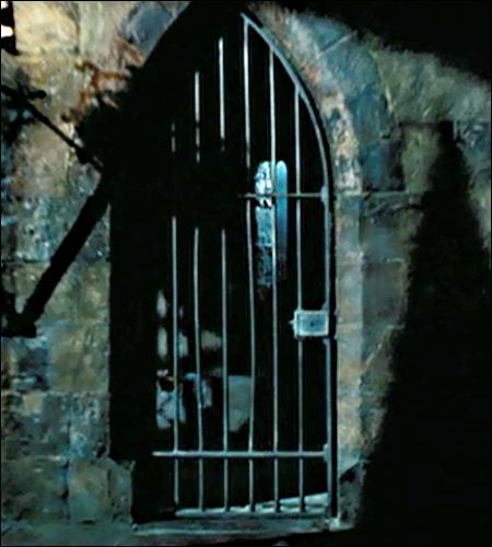 Voici la cellule où croupit Sirius, en attendant le bisou du Détraqueur. Heureusement qu'Hermione arrive et (fra)casse le portail en s'écriant :