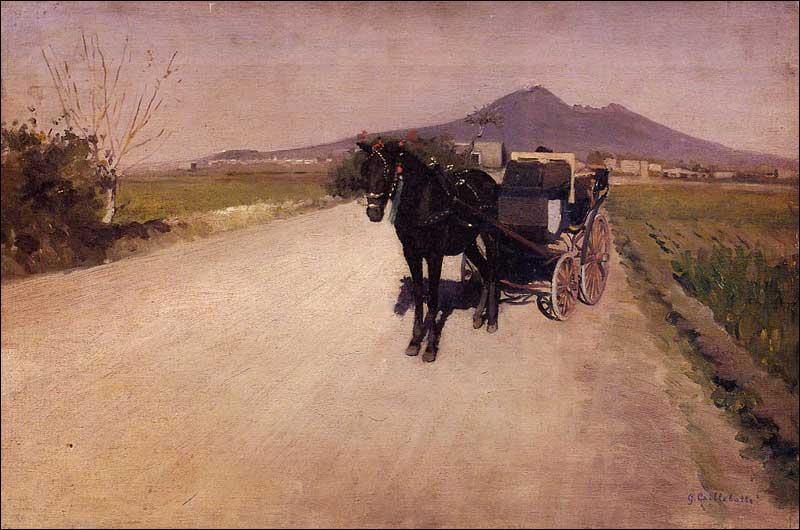 Au cours d'un premier voyage en Italie en compagnie de son père, en 1872, il peint sa première toile, intitulée :