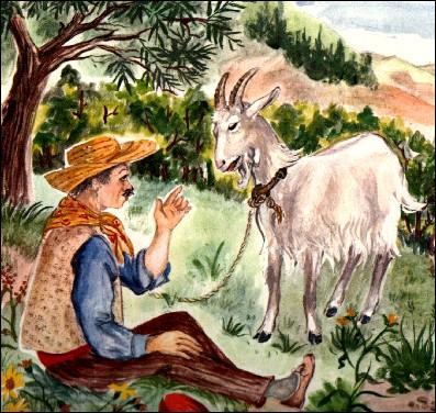 """M. Seguin avait prévenu Blanquette. """"Le loup se moque bien de tes cornes. L'an dernier il a mangé la vieille ... , une chèvre avec des cornes bien plus grandes que les tiennes"""". Mais Blanquette n'a pas résisté à l'appel de la montagne."""