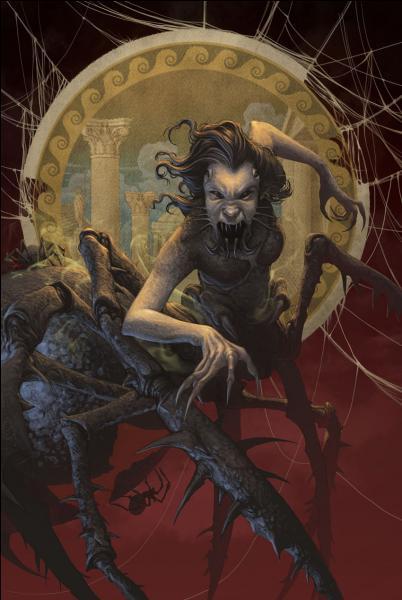 Dans les Heros de l'Olympe 3 comment s'appelle la femme que rencontre Annabeth qui est à moitié araignée ?