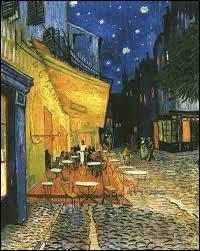 """Ce coup de pinceau, pour cette oeuvre """"Terrasse du café le soir"""", n'a pu être donné que par ..."""