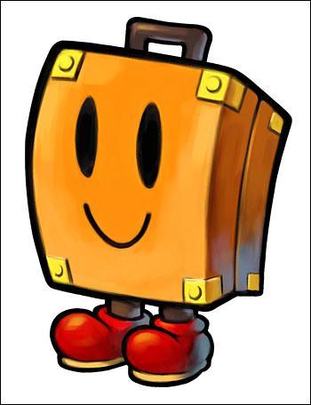 Dans le même jeu, comment s'appelle le bagage parlant qui aide Mario et Luigi ?