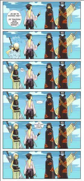 """Sasuke sous-entend que quelqu'un est un poisson. De qui parlait-il ? Dans la dernière bulle Sasuke dit : """"Au moins, c'est pas un poisson."""""""