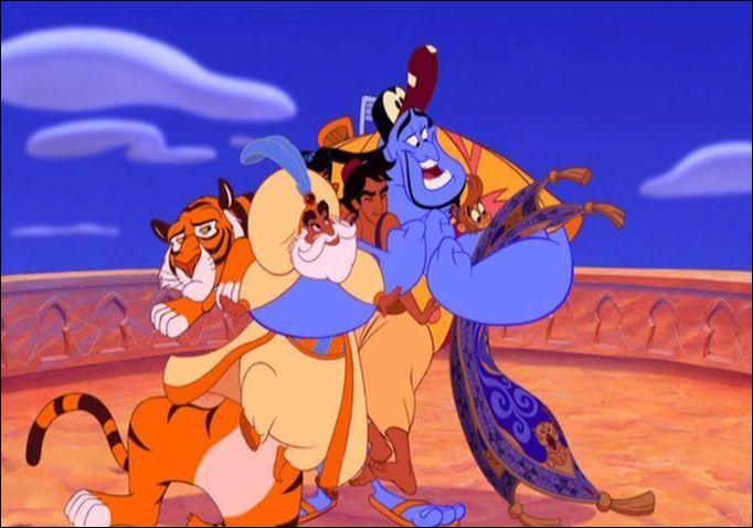 """Qui vois-tu sur cette image tirée du dessin animé """"Aladdin"""" ?"""
