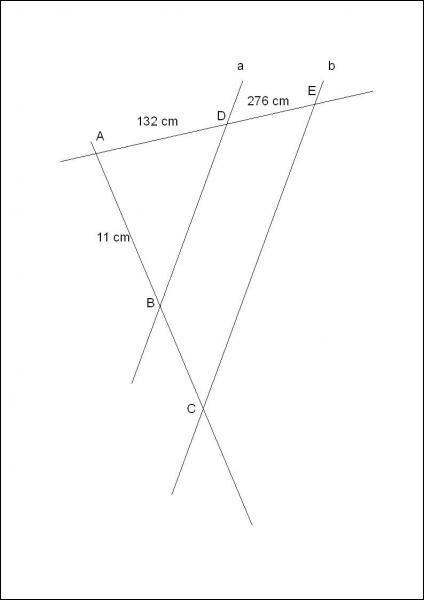 Calcule la longueur de [AC] en sachant que a // b.