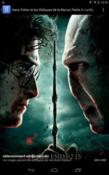 De quelle couleur est le sort de Harry Potter dans le combat final ?