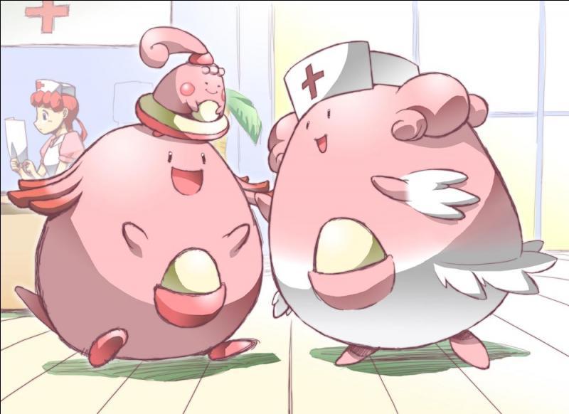 Comment se prénomme l'infirmière que l'on trouve souvent en compagnie de ces pokémon ?