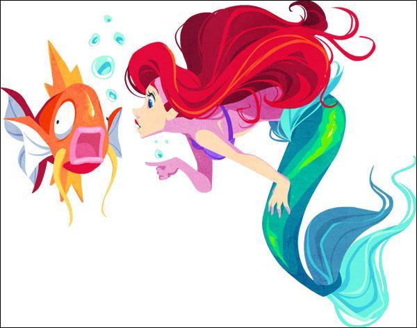 Sur la photo, qui est le poisson au côté de la princesse Ariel ?