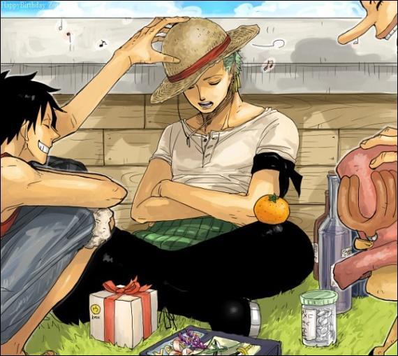 Chacun apporte un cadeau pour Zoro pendant la sieste de celui-ci. Qu'a apporté Nami ?