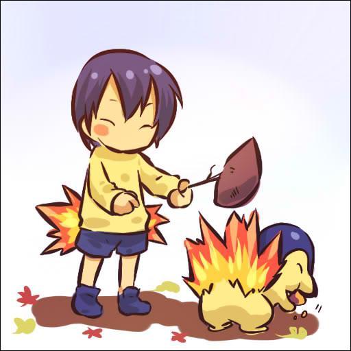 Qui est le Pokémon qui utilise son feu pour faire cuire les brochettes de ce petit garçon ?