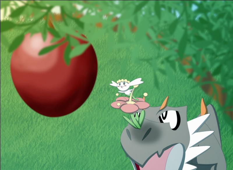 On l'aperçoit également sur cette image. Quel Pokémon essaye de l'aider à attraper la pomme ?
