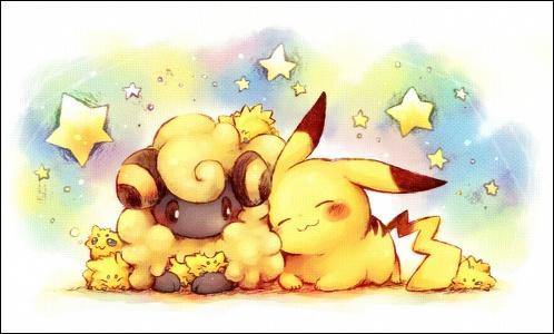 Quel est le Pokémon que Pikachu est en train de câliner ?