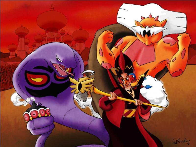 """Dans """"Aladdin"""", Jafar se transforme en plusieurs créatures. Quels Pokémon peuvent être associés aux différentes créatures dont Jafar prend l'apparence ? (2 réponses)"""
