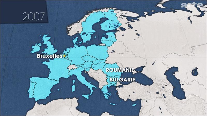 En quelle année la Bulgarie et la Roumanie adhèrent-elles à l'Union européenne?