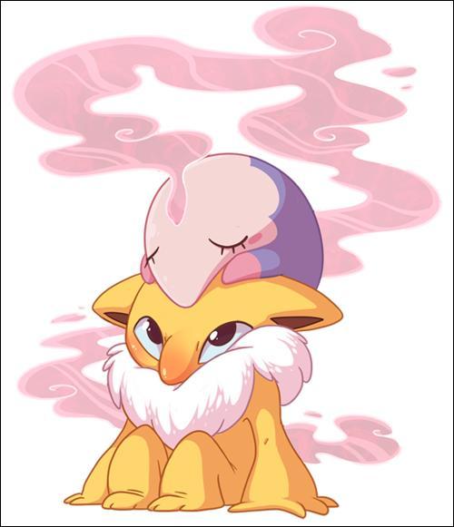 Quel est le Pokémon sur lequel se repose ce petit Mushana ?