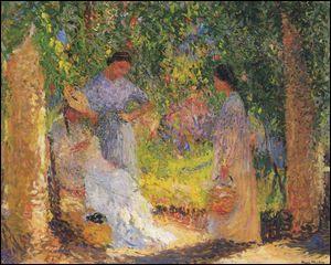 Trois femmes dans le jardin.