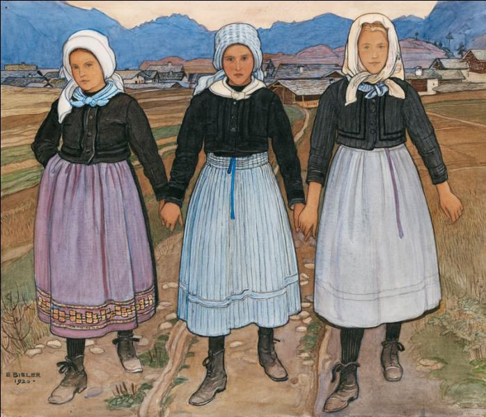 Trois jeunes filles de Savièse.