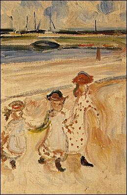 Trois fillettes sur la plage.
