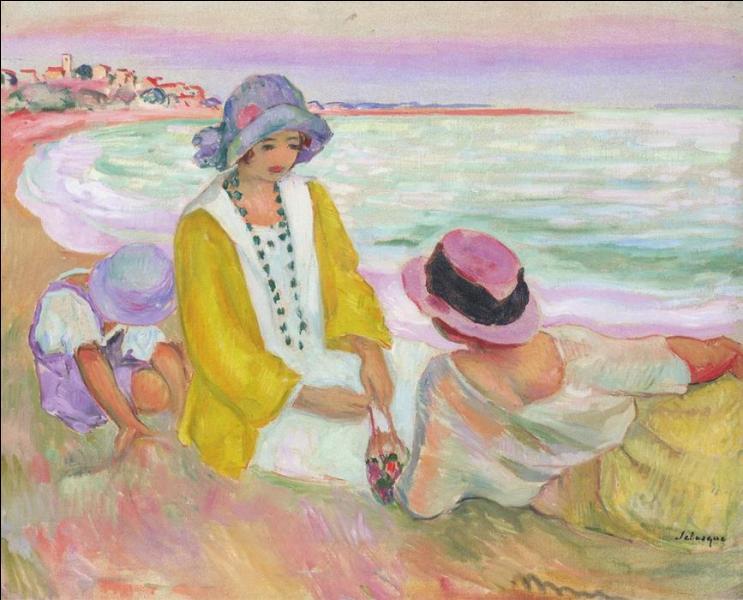 Trois jeunes filles à la plage.