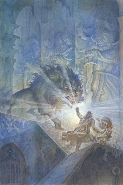 Comment s'appelait le loup géant protégeant Angband ?