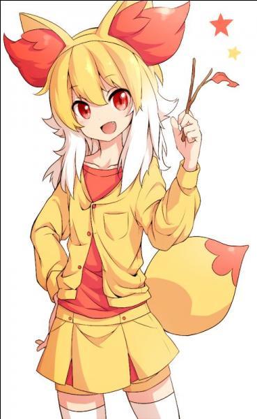 Voici un starter (Pokémon de départ) de Kalos qui est de type Feu. Il obtiendra plus tard le type Psy. On peut l'avoir à Quarellis donné par Tierno.