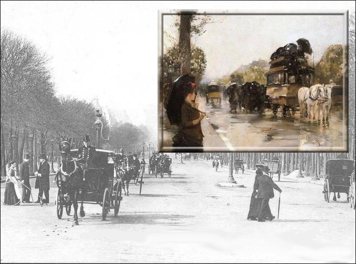 Cette représentation des Champs-Elysées est une oeuvre du peintre impressionniste américain...