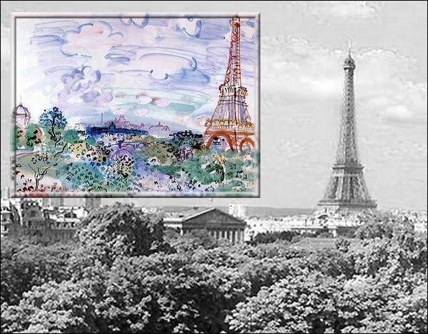 A quel peintre, illustrateur, dessinateur et graveur décédé en 1953 devons-nous cette aquarelle de la tour Eiffel ?
