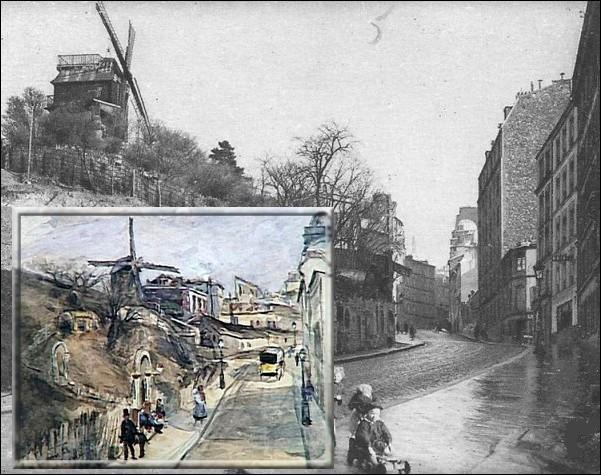 Qui est l'auteur de cette toile représentant la rue Lepic à Montmartre, peinte en 1860 ?