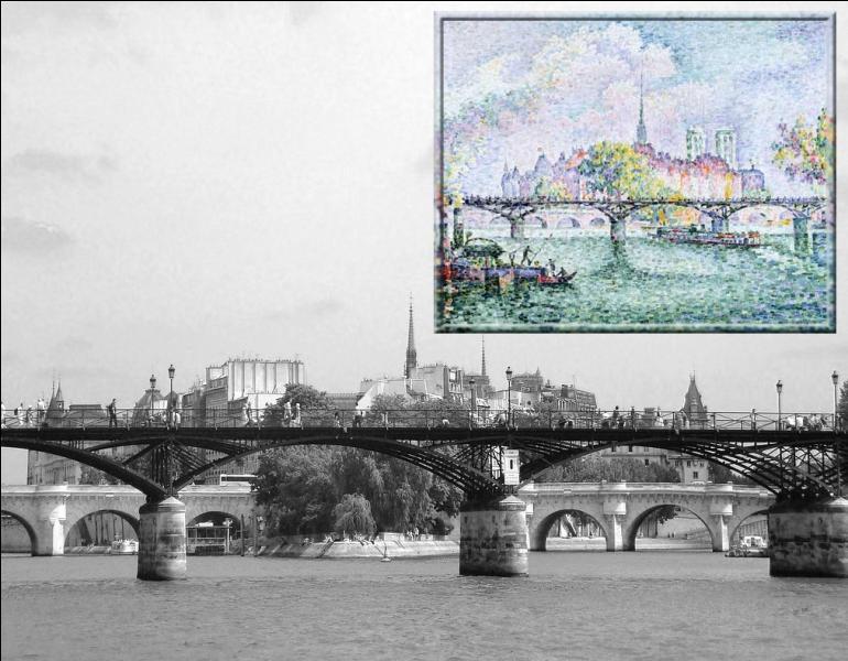 Dans le style pointillisme, l'île de la Cité peinte par...