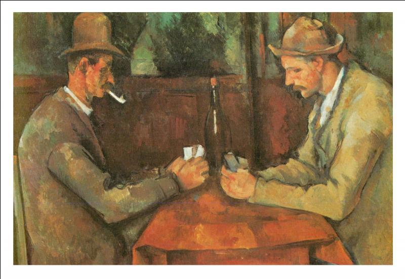Ce tableau de Cézanne représente deux hommes attablés, face à face, des cartes de jeu à la main, une bouteille de vin sur la table. Quel est son nom ?