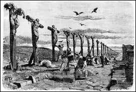 Méthode d'exécution très courante dans l'Antiquité, on flagellait et lacérait le corps du supplicié avant de le placer sur une croix. Il y était maintenu à l'aide de clous, de cordes ou encore de chaines. On nomme cette méthode :