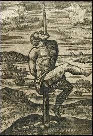 Cette méthode cruelle consistait à enfoncer un pieu dans le corps d'un homme et laisser, par conséquent, la gravité du corps exercer d'atroces souffrances. Selon les époques et les civilisations, le pieu était introduit dans le sternum ou l'anus et ressortait par le haut du corps ou de la tête. Il s'agit du :