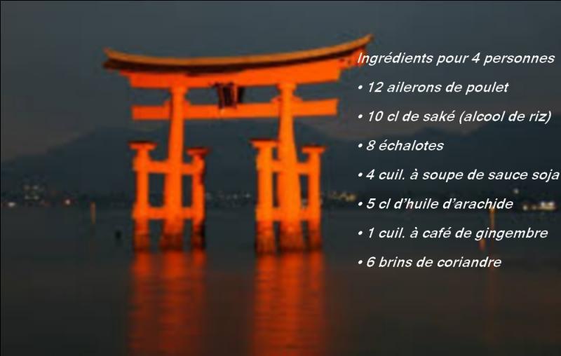 De quel pays nous vient la recette de l'aileron de poulet au saké ?