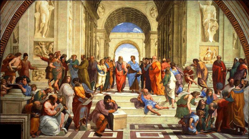 """Qui a réalisé cette fresque, nommée """"L'école d'Athènes"""" ?"""
