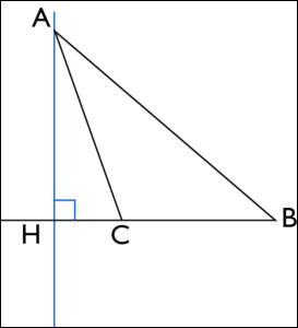 La droite (AH) est une ... du triangle ABC.