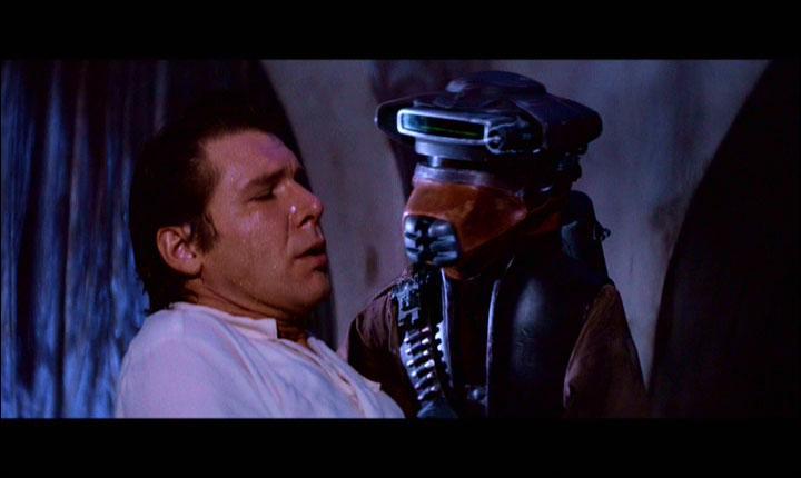 Dans l'épisode 6, lequel de ces personnages s'est déguisé en chasseur de primes pour ensuite libérer Han Solo ?