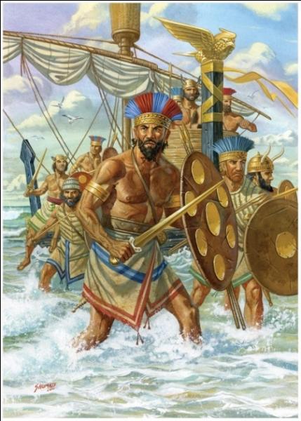 """En 1184 avant J.C. - Quelle bataille fut un combat capital entre les forces du pharaon Ramsès III et les """"peuples de la mer"""" ? Ils avaient l'intention d'envahir et conquérir l'Égypte sans toutefois y parvenir."""