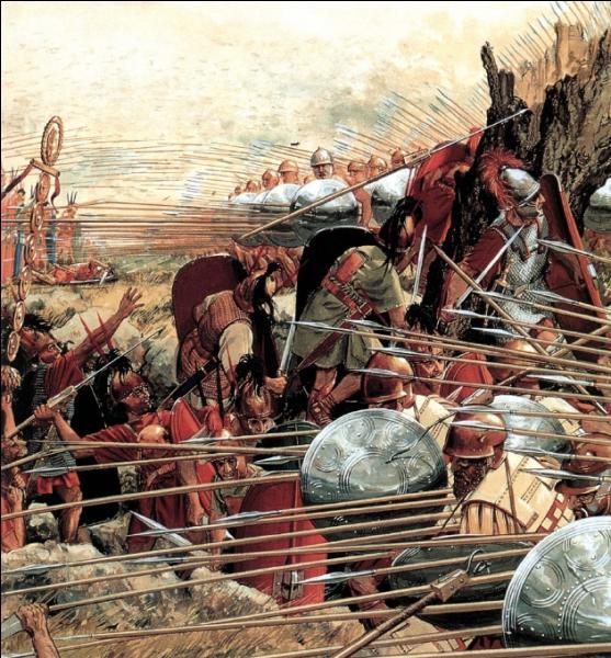 En 168 avant J.-C. - Quelle est cette bataille durant laquelle l'armée romaine écrase l'armée de Persée roi de Macédoine ? Le désastre est immense : 20 000 soldats macédoniens jonchent le sol.