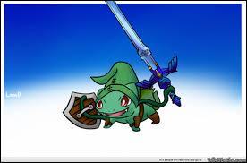 Un Bulbizarre avec une épée ! Qui est ce jeune héros qui évolue dans les plaines d'Hyrule ?