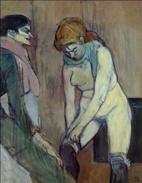 """Quel artiste connu pour avoir représenté beaucoup de scènes au Moulin rouge, a peint """"Femme remontant son bas"""" ?"""