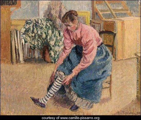 """Quel peintre impressionniste a réalisé la toile """"Femme tirant sur son bas"""" ?"""