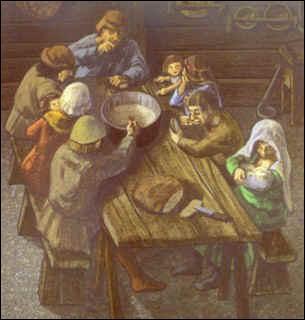 Le paysan mange rarement à sa faim. Il doit reverser plus de la moitié de sa maigre production au seigneur et à l'Église. De quoi se compose un repas de paysan pour l'essentiel ?