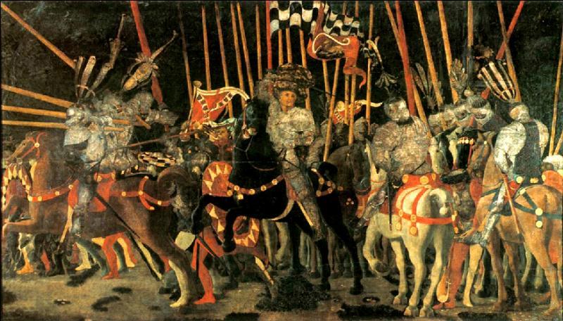 La Bataille de San Romano  : un des trois panneaux dispersés dans le monde a été peint par :