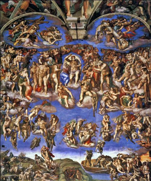 """Surnommé """"Le divin"""". Il reprend les techniques de l'antiquité, la perspective. Il est l'auteur de la fresque """"la création"""" sur les voûtes de la chapelle Sixtine et le célèbre """"jugement dernier"""" et la Piéta de la basilique Saint-Pierre de Rome."""