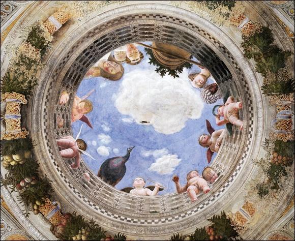 """Passionné par la perspective. Il est l'auteur de nombreuses fresques. Les fresques """"Camera Degli Sposi ou chambre des époux"""" dans le château de Mantoue sont un chef d'œuvre."""