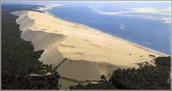La dune du Pilat, la plus grande dune de sable d'Europe surplombe l'océan Atlantique et la grande forêt des Landes.